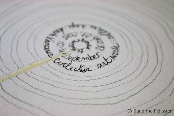 """We did write on the first 3 small circles at the center of the tree""""Time Lines, September 26 and 27, 2015 10-4, collective Art work, Culture Days, North Vancouver"""""""