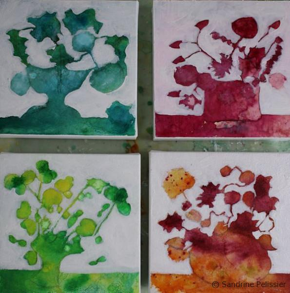 painting flowers from imagination step by step