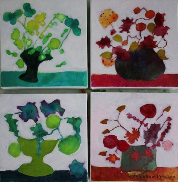 painting flowers in acrylic step by step