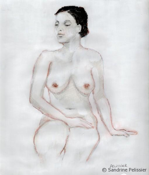 life drawing reworked with oil pastels