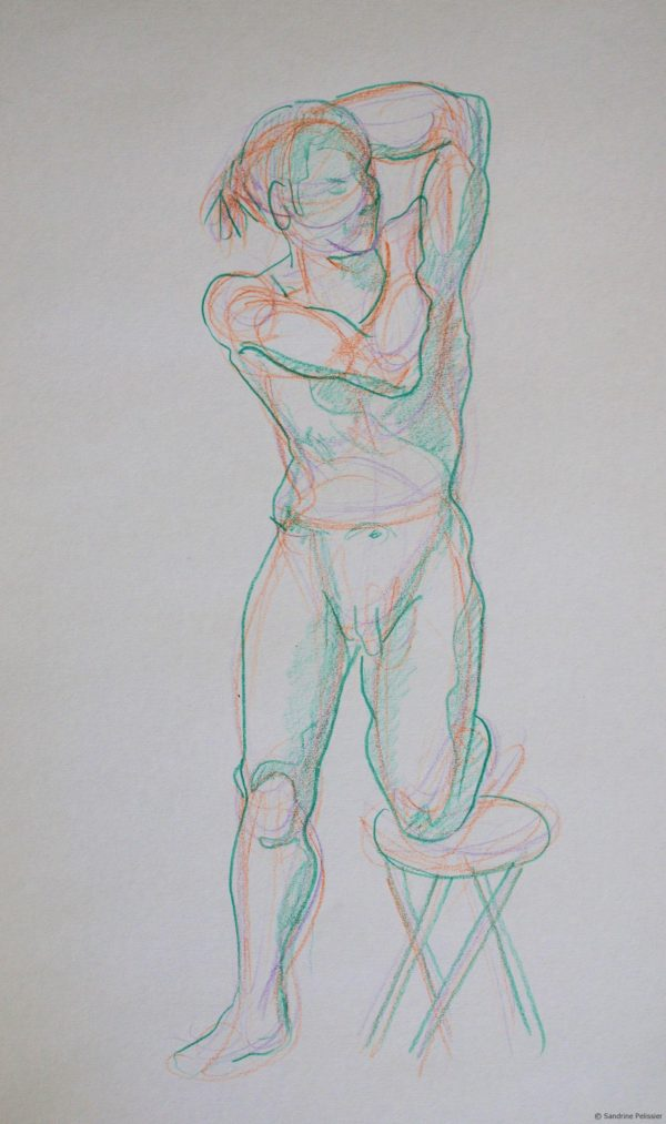 figure drawing with colored pencils