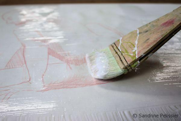 Paint a layer of gel medium to make a yupo paper alternative