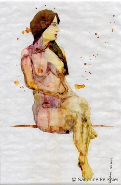 watercolor life drawing on top of gel medium