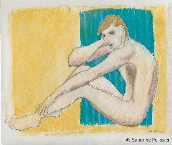 figure drawing with dry pastels on paper