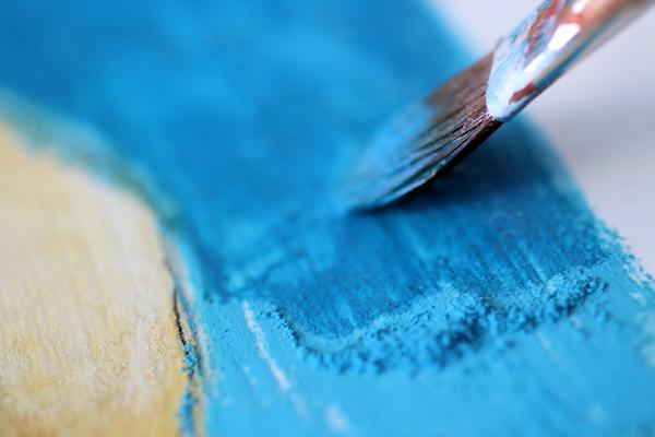 pastels and gel medium