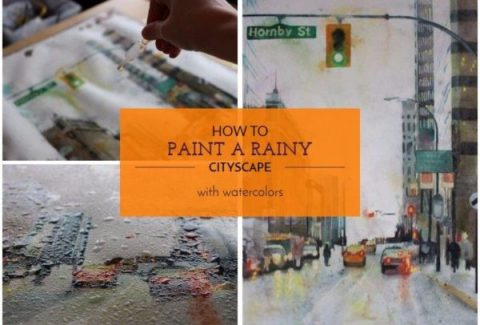 How to paint a rainy cityscape with watercolors and salt