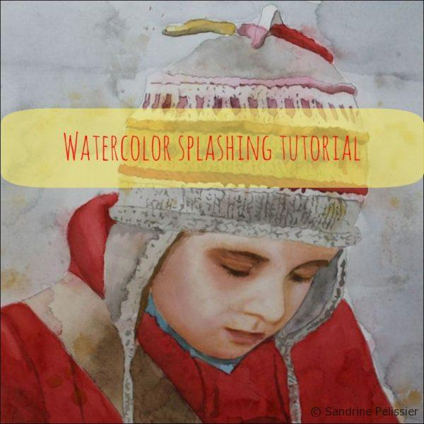 Watercolor portrait painting tutorial with splashing technique : Drawing on my notebook works better with my lucky hat on