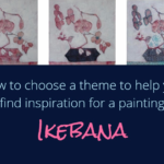 Painting flowers from imagination with watercolor on canvas : Ikebana