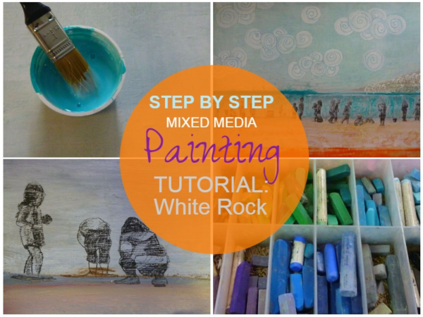 White Rock, step by step mixed media painting tutorial on ARTiful painting demos by Sandrine Pelissier
