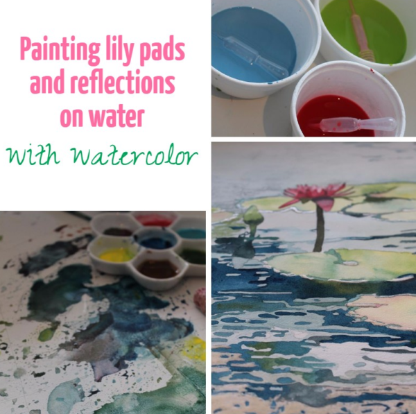 Painting lily pads and reflections on water with watercolor on ARTiful painting demos by Sandrine Pelissier