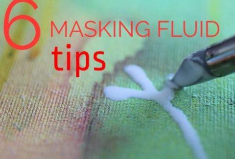 6 masking fluid tips on ARTiful,painting demos by Sandrine Pelissier