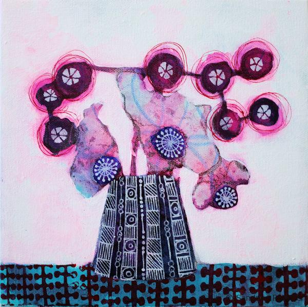 mixed media flower painting from imagination