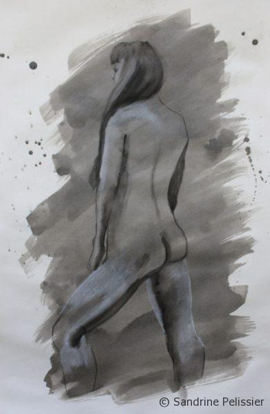Painting with India ink over life drawings