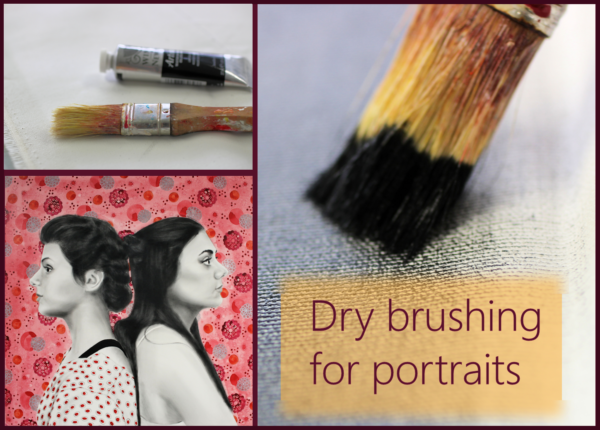 Dry brushing for mixed media portraits