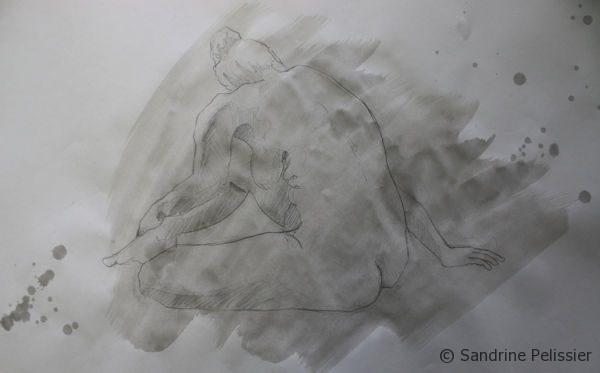 Indian ink wash on top of life drawing