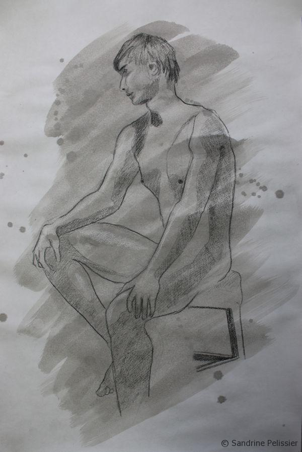 Indian ink wash figure drawing