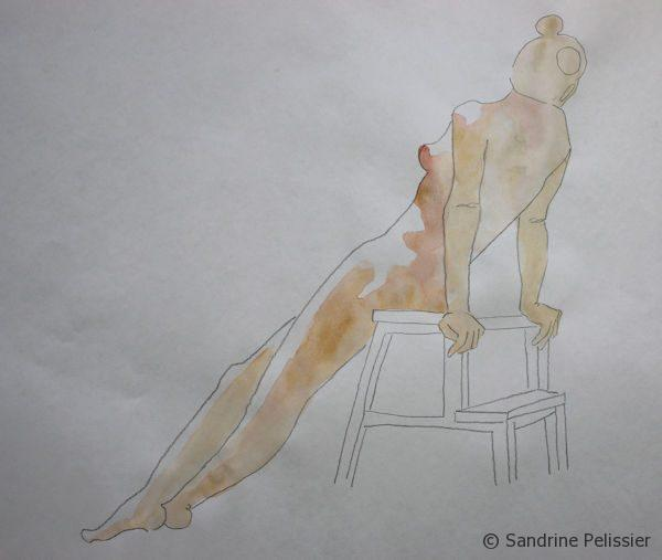 watercolor and pen life drawing