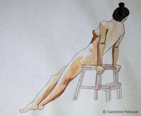 watercolour and pen life drawing