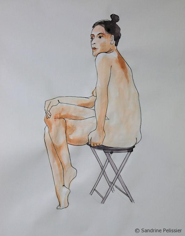 watercolour and pen figure drawing