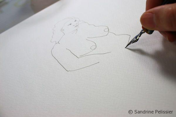 outline of life drawing with pen and ink