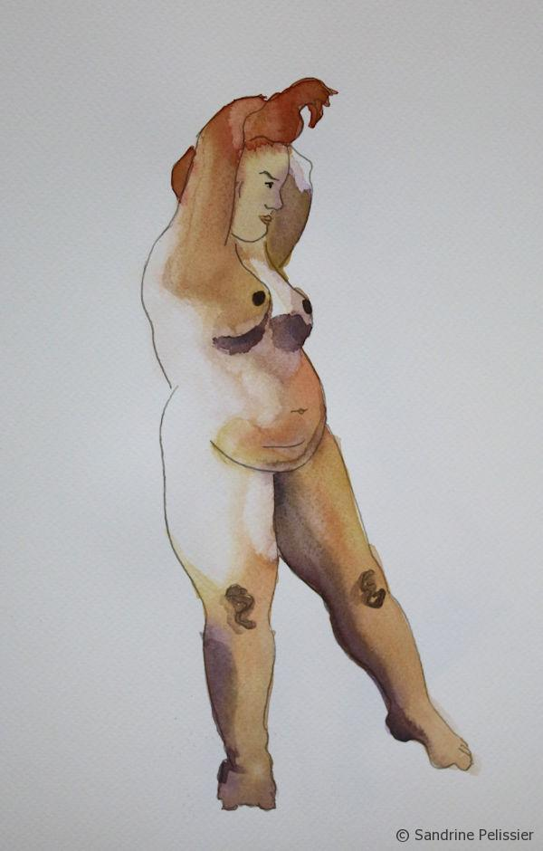 watercolor and pen figure drawing