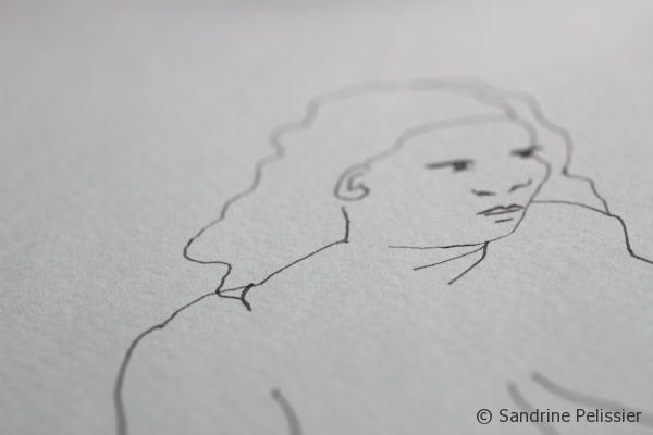 Indian ink figure contour drawing