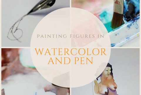 Painting figures in watercolor and pen 600px