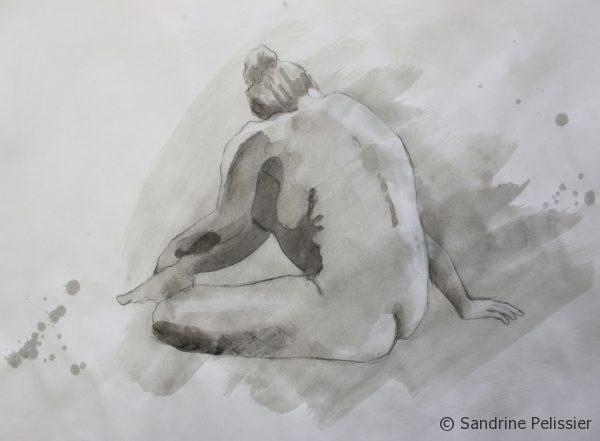 India Ink and white ink over figure drawing