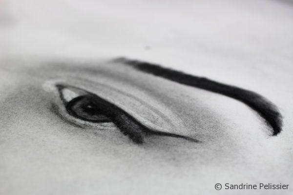eyes in charcoal portrait