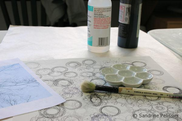 painting on top of Spirograph visual texture