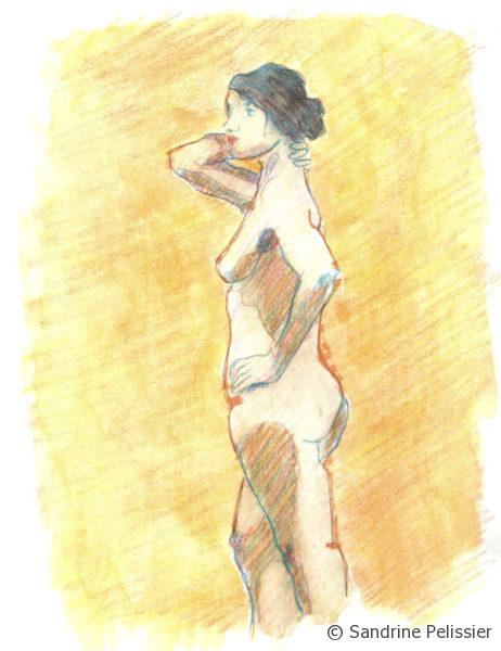 Watercolor pencils in different colors for drawing the figure