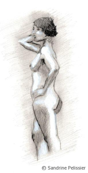 Charcoal and white acrylic figure drawing