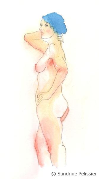 Black outline and watercolor washes for figure drawing