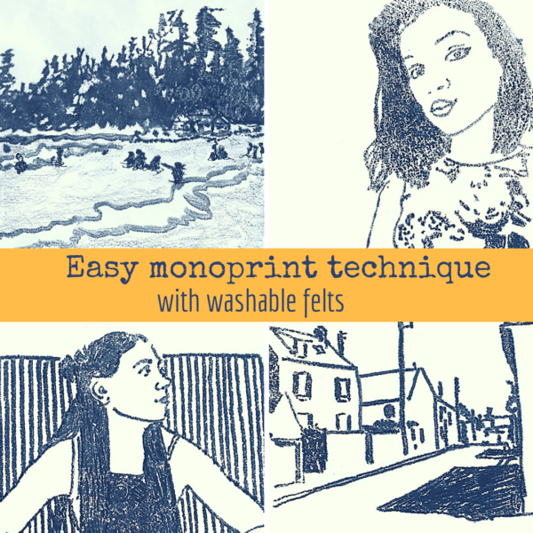 Easy monoprint technique on ARTiful, painting demos