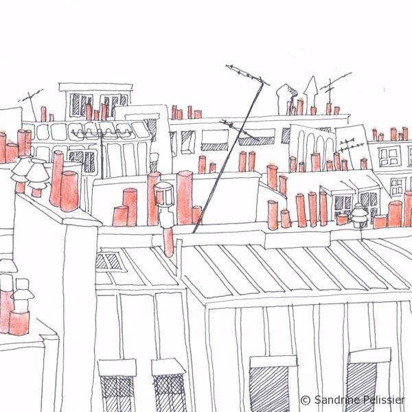 selective color on roof tops of paris drawing for the big picture art project
