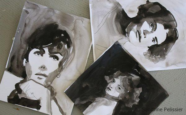 India ink line and wash portraits