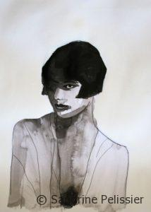 dramatic India ink portraits