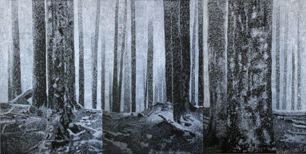 trees drawn only with scribbles of white ink on canvas