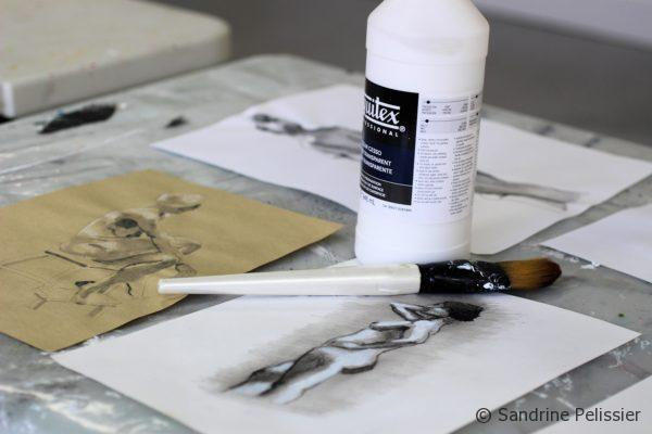 clear gesso over drawings on paper