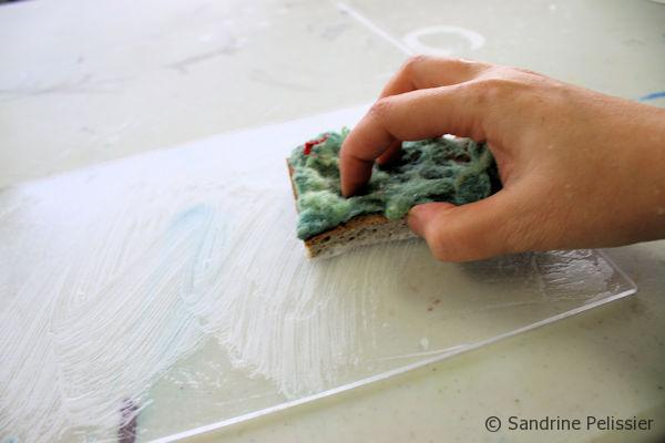 Start by cleaning the Plexiglas with soap, don't rinse and let air dry