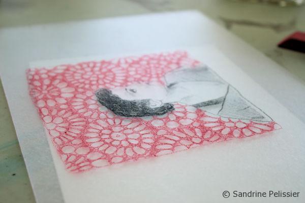 watercolor pencils monoprint