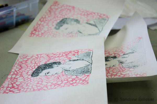 Even though this is technically a monoprint, you might be able to make up to 3 prints with the same design. Let dry.
