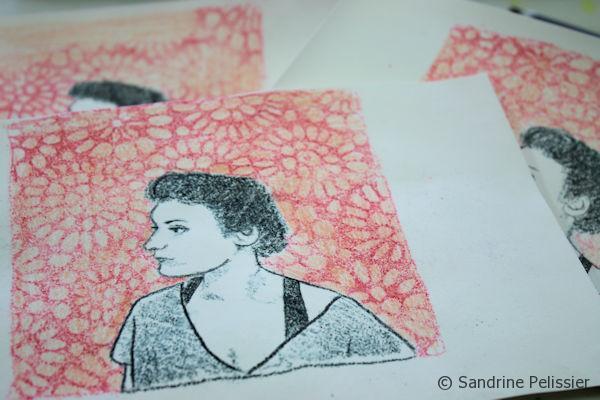 watercolor pencil monoprint