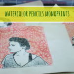 Watercolor pencils monoprints