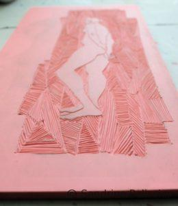 life drawing figure carved onto linoleum