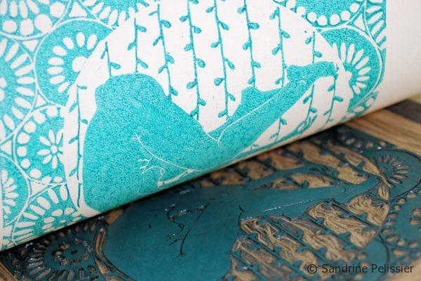 printing on fabric with blue ink