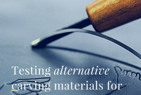 Testing alternatives carving materials for lino printing