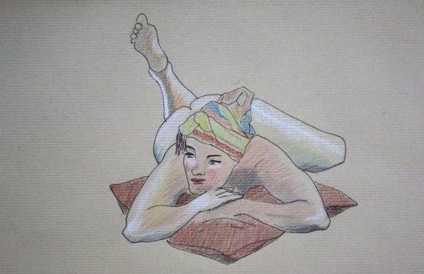 life drawing with colored pencils