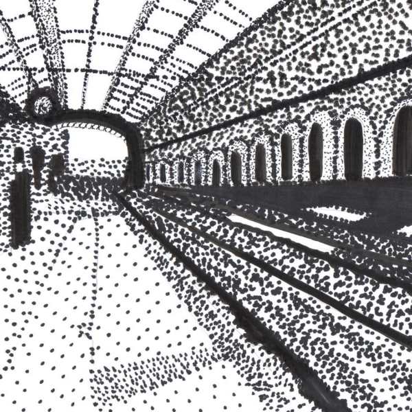 strippling drawing of a train station
