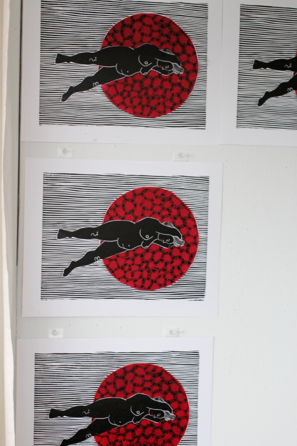 pin prints to dry in the studio